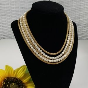 Four Strand Gold Metal Mesh and Faux Pearl Necklac